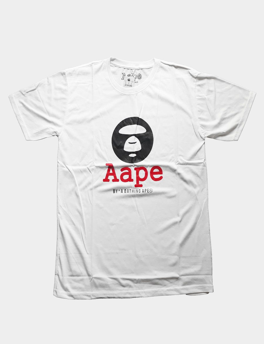White T-shirt with Ape Silhouette with Aape Writing Red Color Front View