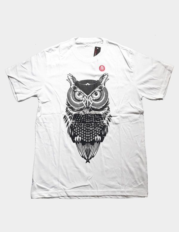 White T-shirt with Owl Silhouette Black Color Front View