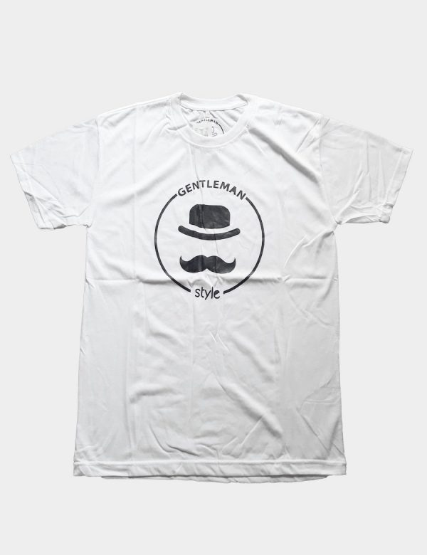 White T-shirt with Hat and Mustache Silhouette with Gentleman Style Writing Black Color Front View