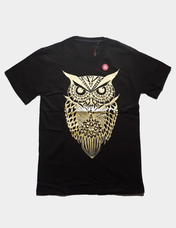 Black T-shirt with Goldy Owl Silhouette Gold Color Front View