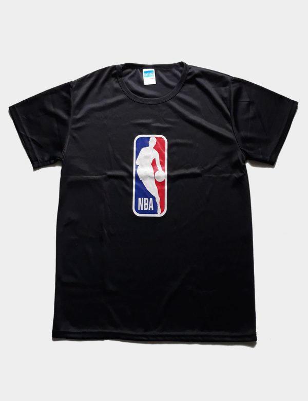 NBA Basketball T-shirt with Jerry West Logo Color Black Front View