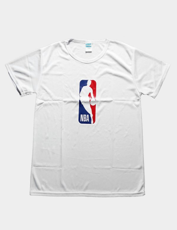 NBA Basketball T-shirt with Jerry West Logo Color White Front View