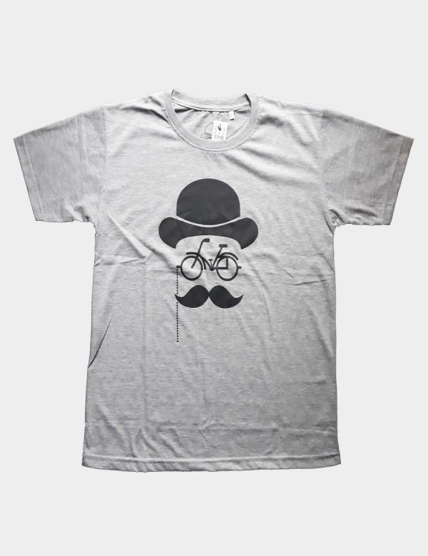 Grey T-shirt with Hat Bicycle and Mustache Specycle Silhouette Black Color Front View
