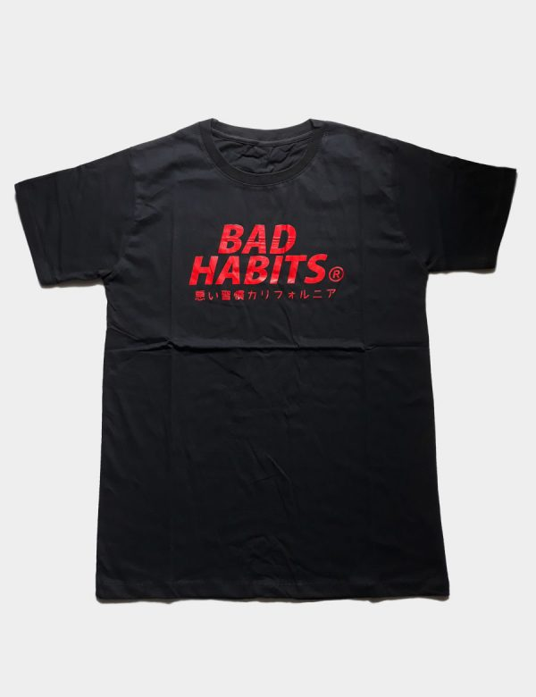 Black T-shirt with Bad Habits Writing and Japanese Letter Red Color Front View