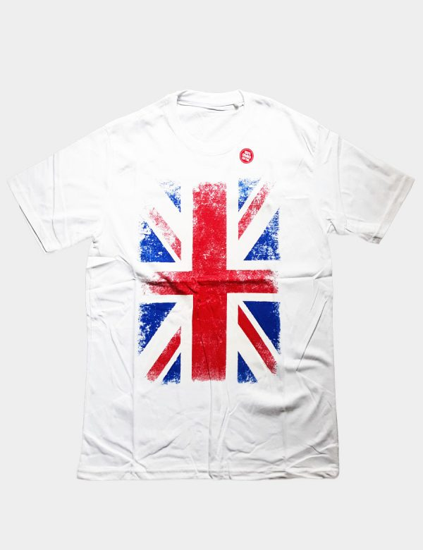 White T-shirt with British Flag Silhouette Front View