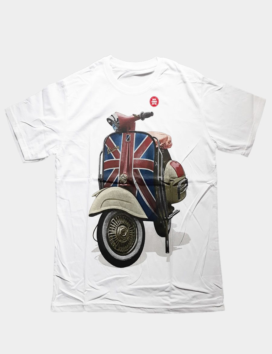 White T-shirt with Vespa Motorcycle and British Flag Silhouette Front View