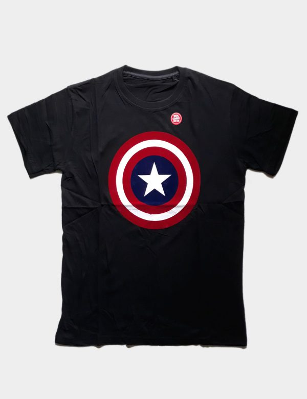 Black T-shirt with Captain America Silhouette Front View