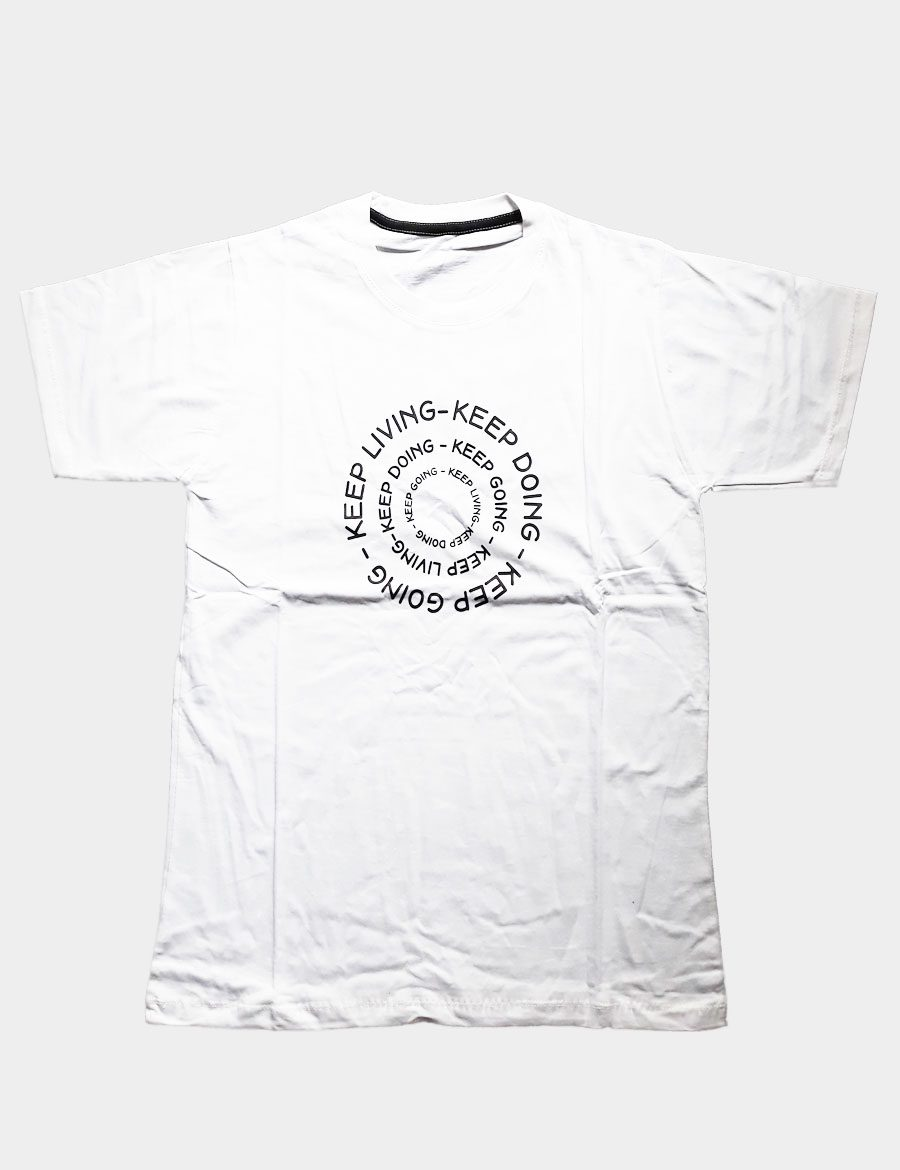 White T-shirt Keep Anything Living Doing Going Writing Circle Print Black Color Front View