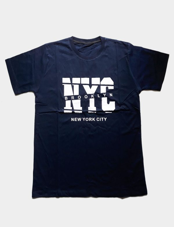 Navy Blue T-shirt NYC New York City Brooklyn Writing White Color Front View