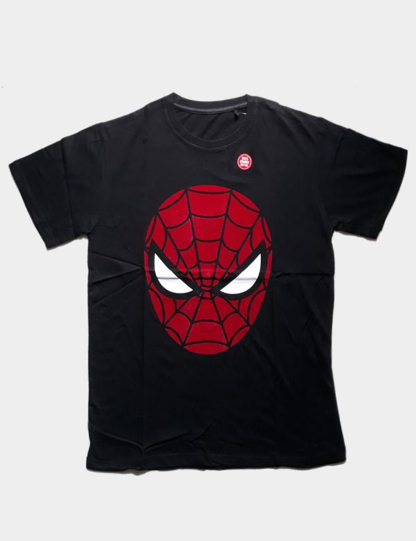 Black T-shirt with Spiderman Silhouette Front View