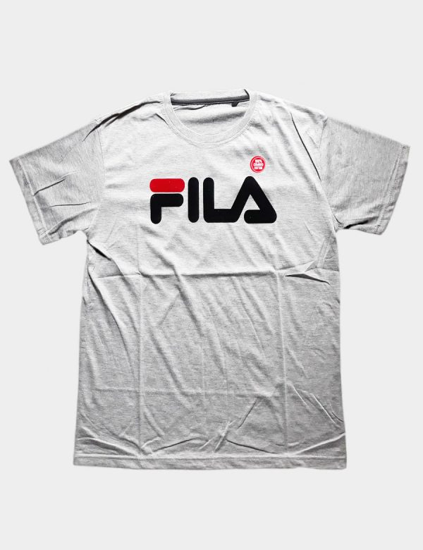 Grey T-shirt with Fila Sport Writing Red Black Color Front View