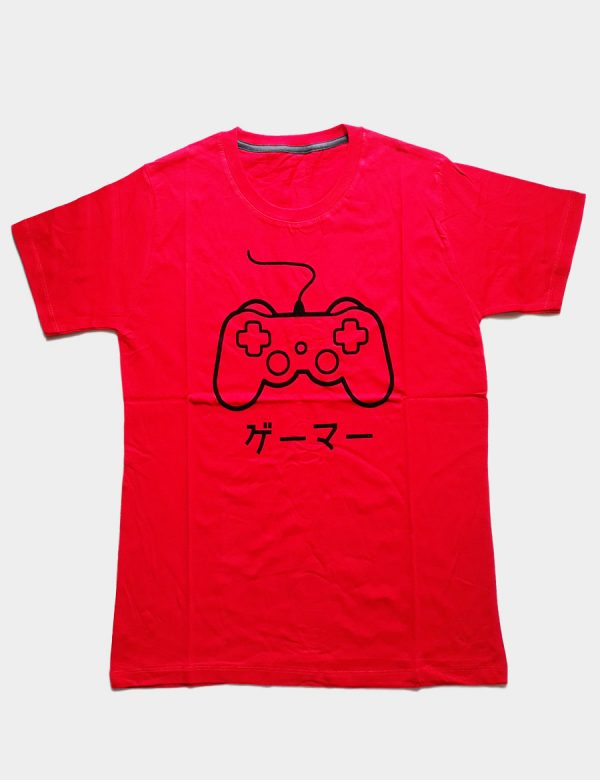 Red T-shirt with Game Pad Silhouette and Japanese Writing Front View
