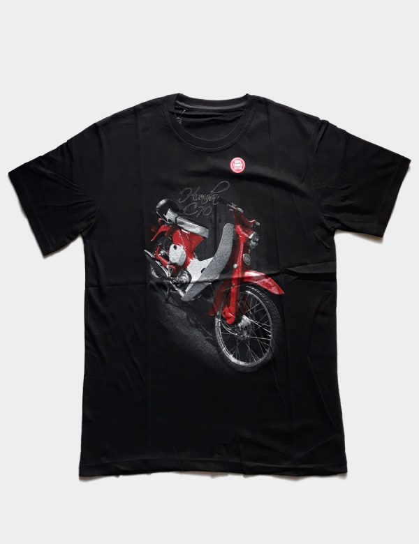Black T-shirt with Honda C70 Motorcycle Silhouette Front View