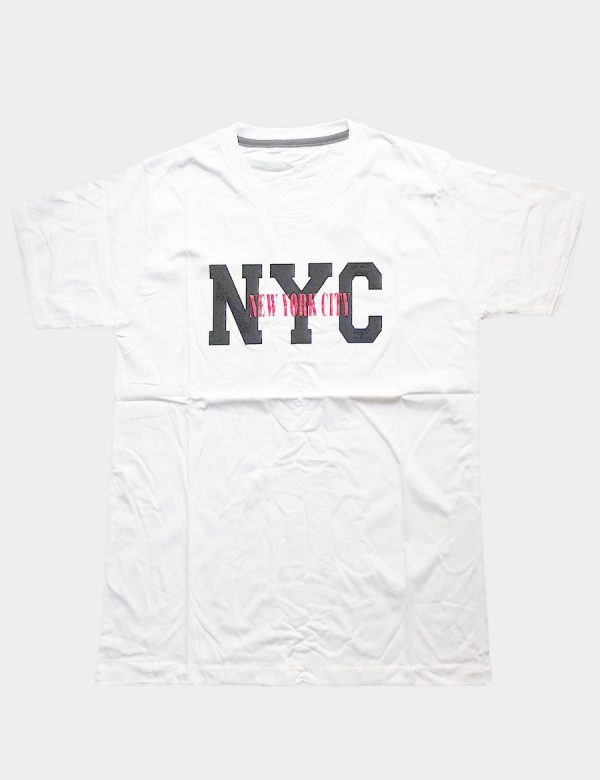 White T-shirt with NYC Writing Black Color and with New York City Writing Red Color Front View