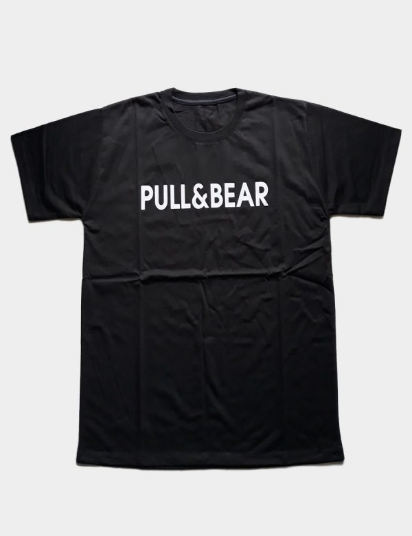 Black T-shirt with Pull Bear Writing White Color Front View