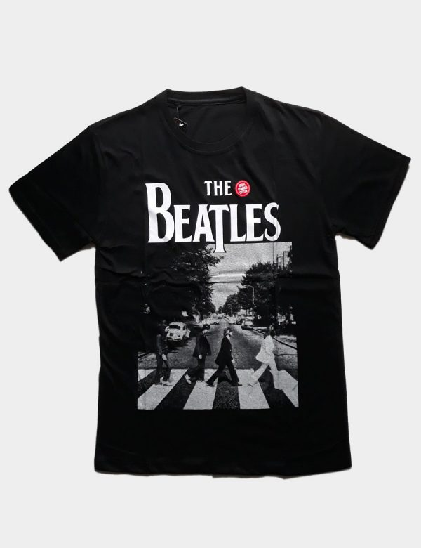 Black T-shirt with The Beatles Cross the Road Silhouette White Color Front View