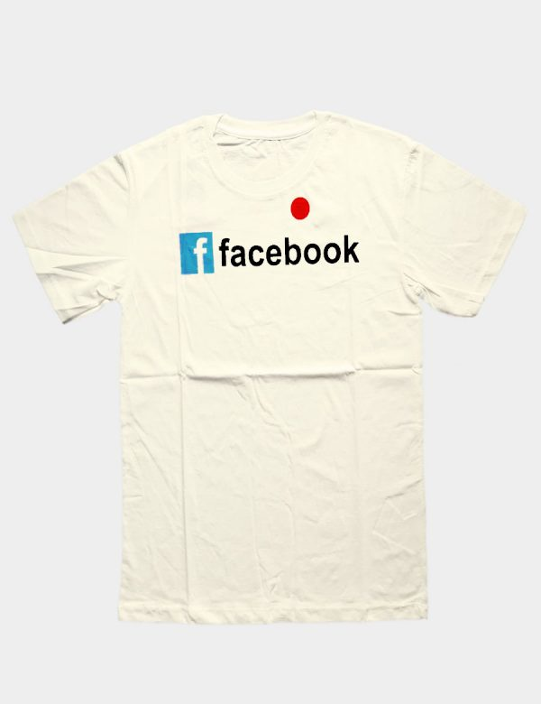 Beige T-shirt with Facebook Writing Black Color and with Blue Block Color Front View