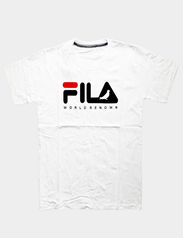 White T-shirt with Fila Worldrenown Writing Red Black Color Front View
