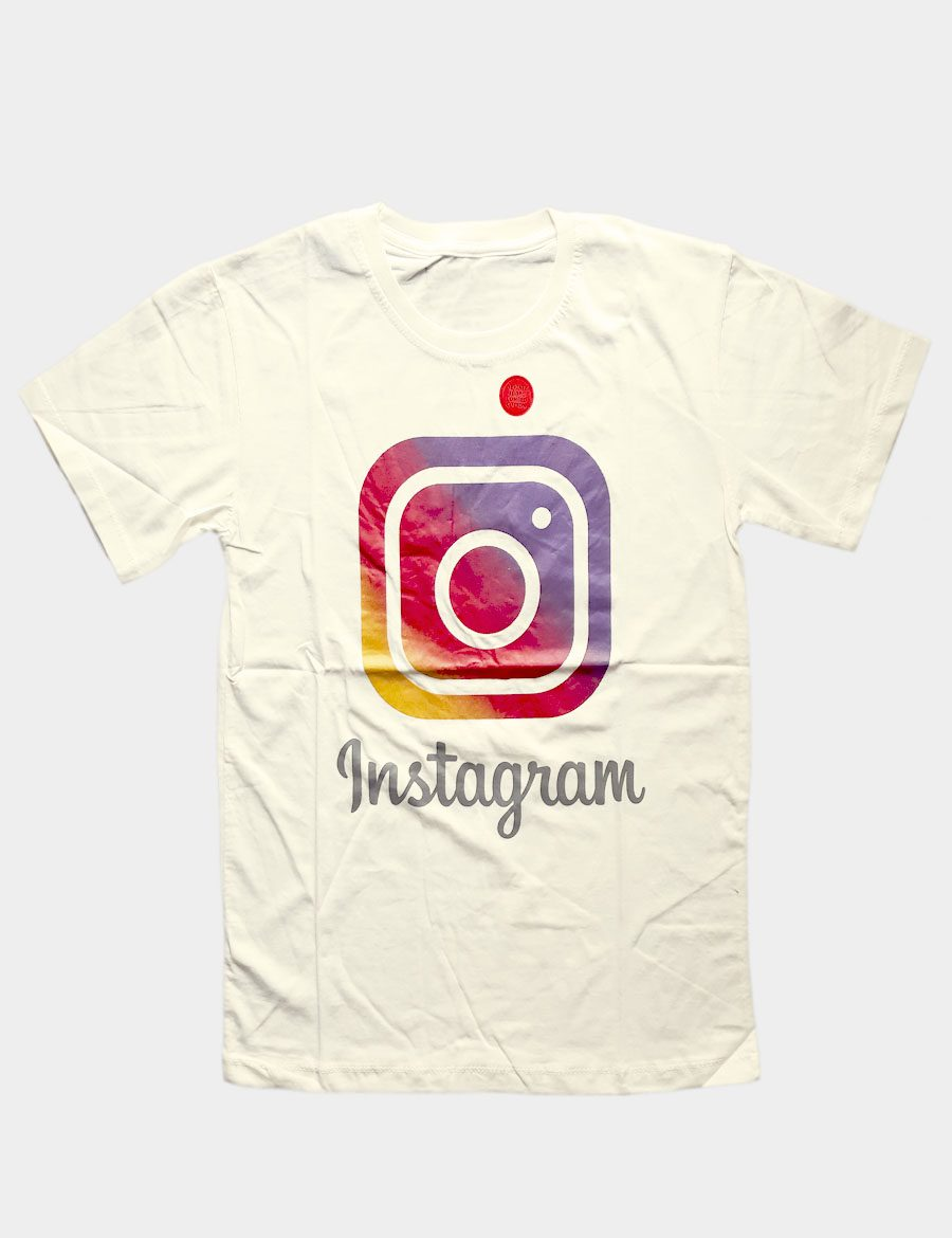 Beige T-shirt with Instagram Writing Black Color Front View