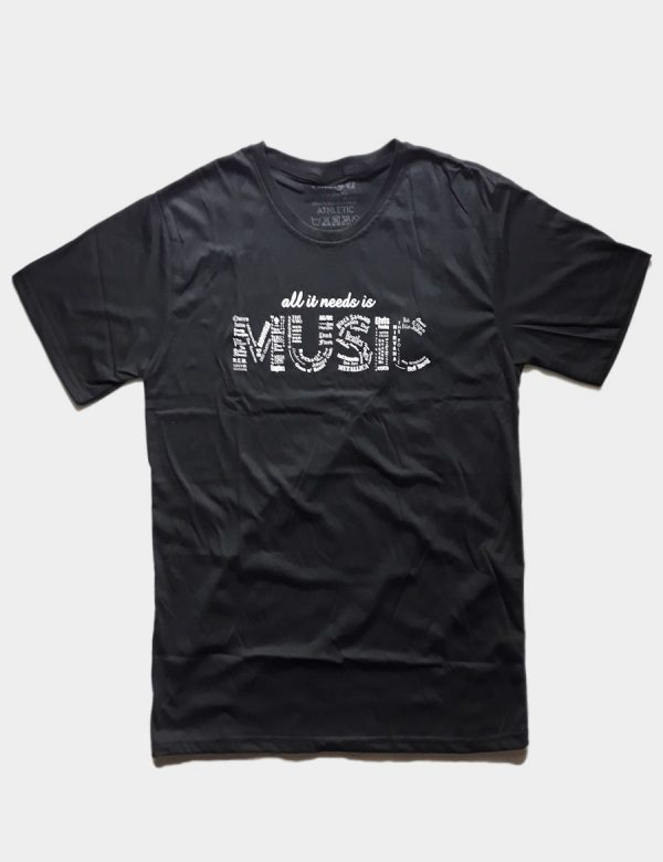 Black T-shirt with Music Note Writing White Color Front View