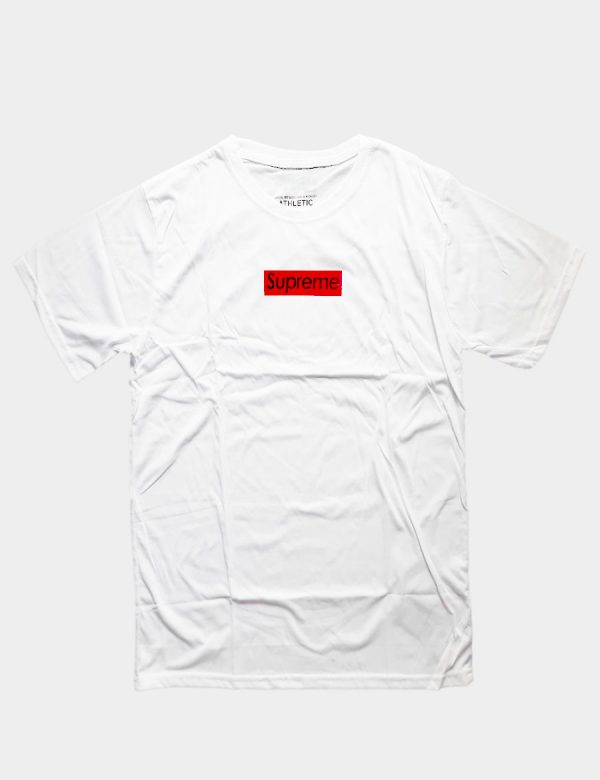 White T-shirt with Supreme Small Writing Black Color and with Red Block Color Front View