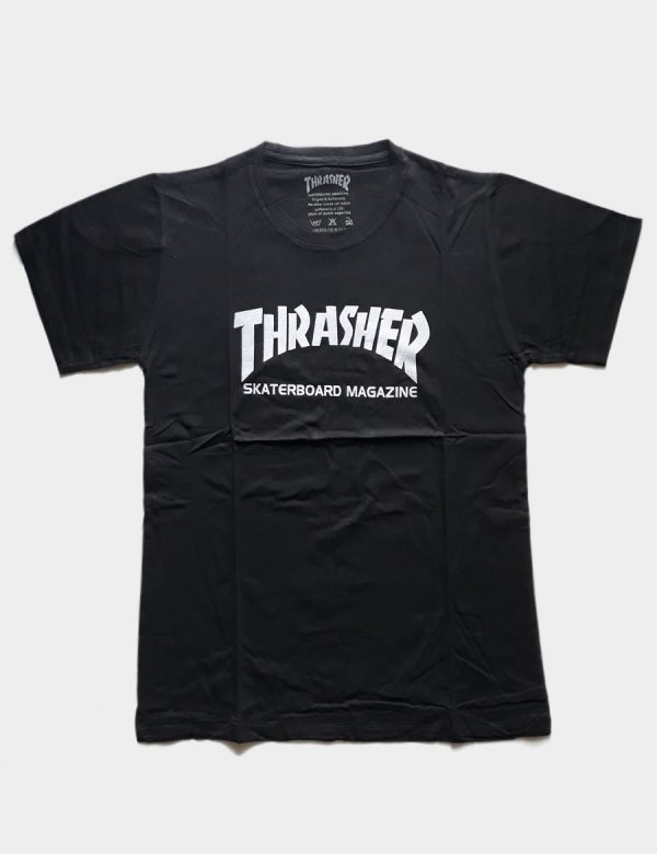 Black T-shirt with Thrasher Skateboard Writing White Color Front View